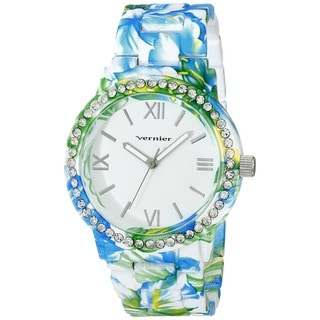 Vernier Women's Roman Numberal Soft Touch All Over Floral Pattern Stone Bezel Watch