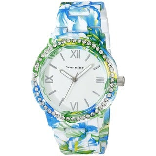 Vernier Women's Roman Numberal Soft Touch All Over Floral Pattern Stone Bezel Watch - Blue/Green