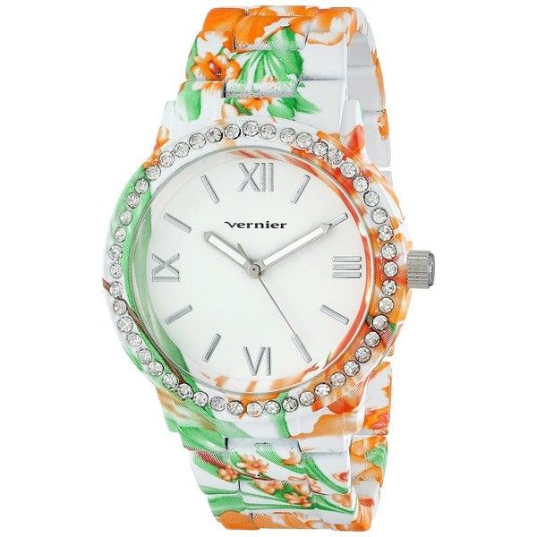 Vernier Women's Yelllow/ Green Soft Touch All Over Floral Pattern Stone Bezel Watch