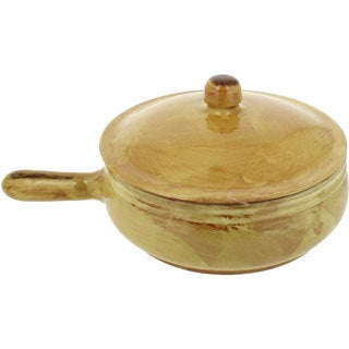 French Home Saffron Gold Italian Stoneware Frying Pan with Lid