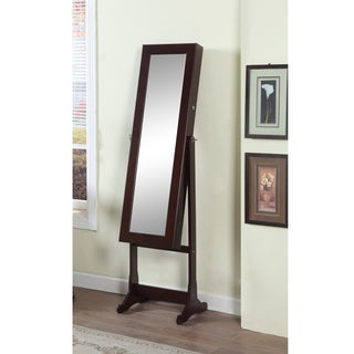 artiva usa 63inch walnut mirror and jewelry armoire with led light