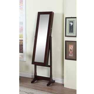 Artiva USA 63-inch Walnut Floor-Standing Mirror and Jewelry Armoire with LED Light