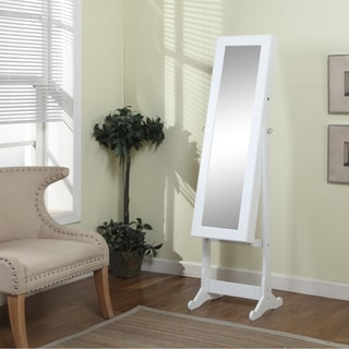 Artiva USA 63-inch White Floor-Standing Mirror and Jewelry Armoire with LED Light