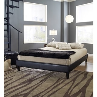 Sleep Sync Darlington Upholstered Black Leather Complete Platform Bed