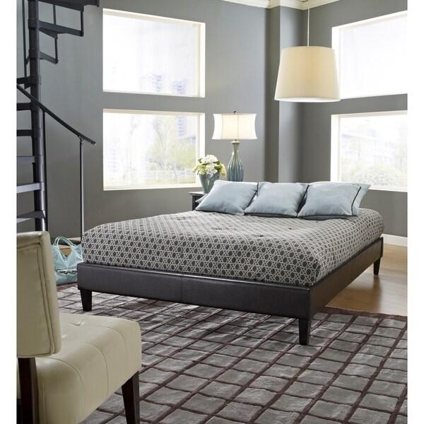 Sleep Sync Darlington Upholstered Brown Leather Complete Platform Bed