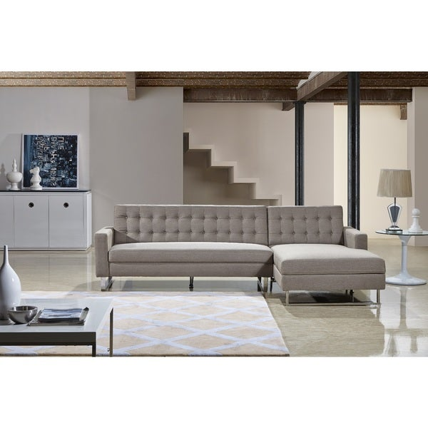 Dorris Fabric Contemporary Right Chaise Sectional Sofa Set
