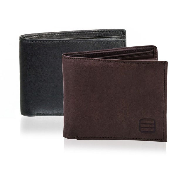 Suvelle W055 Men's Slim Leather Bifold Wallet with Removable Flip-up ID Window - L