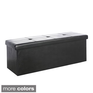CorLiving Denali 42-inch Folding Storage Ottoman in Leatherette