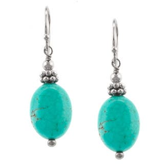 Sterling Silver Detailed Beaded Turquoise Oval Drop Earring|https://ak1.ostkcdn.com/images/products/9667256/P16848514.jpg?impolicy=medium