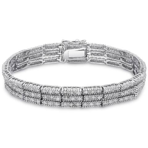 Finesque Silver Overlay 2ct TDW Diamond Three Row Bracelet with Red Bow Gift Box