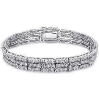 Finesque Silver Overlay 2ct TDW Diamond Three Row Bracelet with Red Bow Gift Box (I-J, I2-I3)