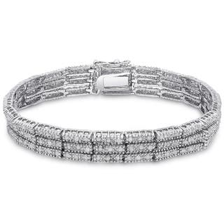 Finesque Silver Overlay 2ct TDW Diamond Three Row Bracelet with Red Bow Gift Box (Option: 7.25 Inch)|https://ak1.ostkcdn.com/images/products/9667270/P16848521.jpg?impolicy=medium