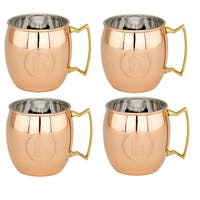 Solid Copper Monogrammed Moscow Mule Mug (Set of 4)