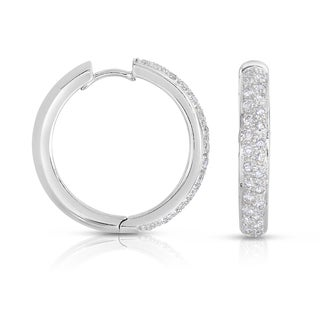 Eloquence 18k White Gold 1ct TDW Diamond Hoop Earrings (H-I, SI1-SI2)