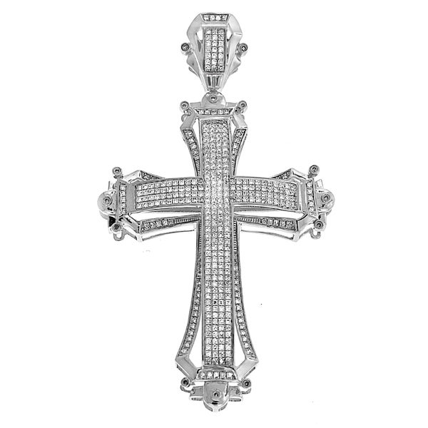 10k White Gold 1 1/3ct TDW Diamond Cross Pendant