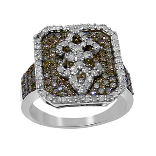 Sterling Silver 1 1/4ct TDW Brown and White Diamond Fleur-de-lis Ring (H-I, I2-I3)