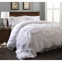 Lush Decor Serena 3-Piece Queen Size Comforter Set in White (As Is Item)