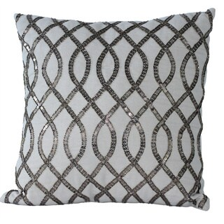 Auburn Textiles Sequin Embroidered Cotton Square Decorative Pillow Cover
