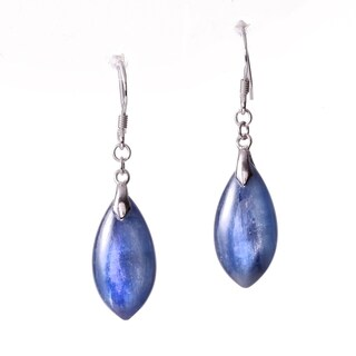 Rhodium-plated Sterling Silver Kyanite Teardrop Dangle Earrings