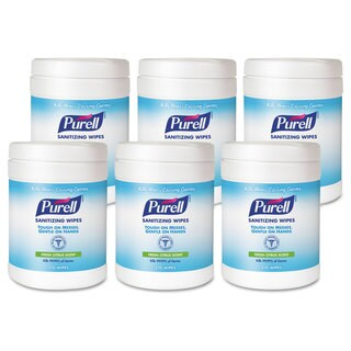 Purell 6x6.75-inch Sanitizing Hand Wipes (Pack of 6 Canisters)