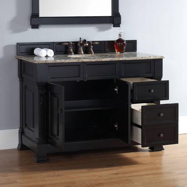 Antique Black Single Vanity W Drawers