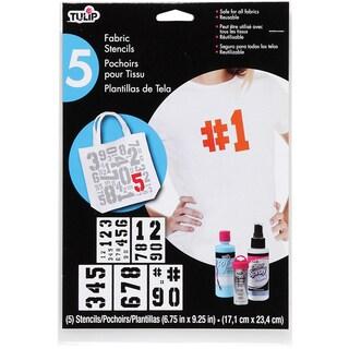 "Tulip Large Fabric Stencils 7""X9""-Basic Numbers 5/Pkg"
