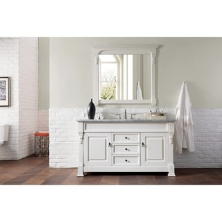 James Martin Furniture 60-inch Brookfield Cottage White Single Vanity with Carrera White Marble Top