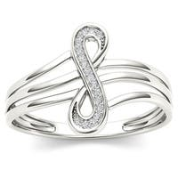 De Couer  IGI Certified 10k White Gold 1/20ct TDW Diamond Infinity Knot Fashion Ring