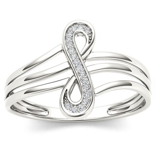 De Couer 10k White Gold 1/20ct TDW Diamond Infinity Knot Fashion Ring