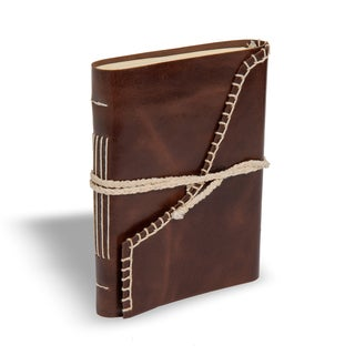 Sitara Handmade Brown Leather Journal with Soft Wrap (India)