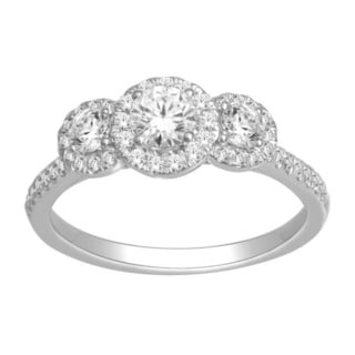 De Couer 10k White Gold 1ct TDW Diamond Three-Stone Engagement Ring
