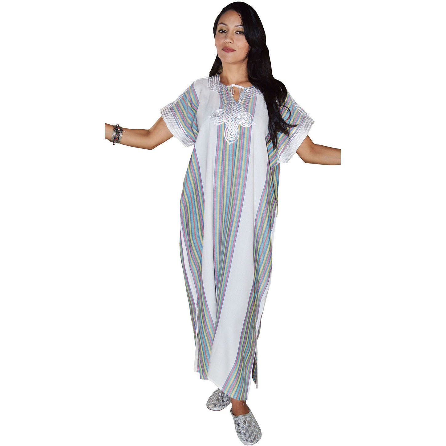 Moroccan Handmade Women's Linen Long Caftan with Hand Emb...