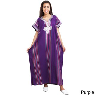 Moroccan Handmade Women's Linen Long Caftan with Hand Embroidered Fiber