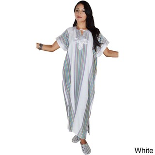 Handmade Moroccan Women's Linen Long Caftan with Hand Embroidered Fiber (Morocco)