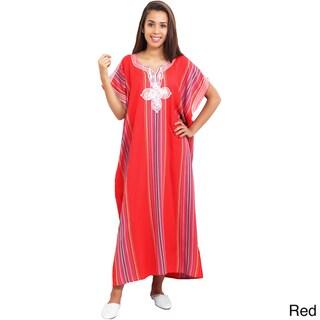 Moroccan Handmade Women's Linen Long Caftan with Hand Embroidered Fiber