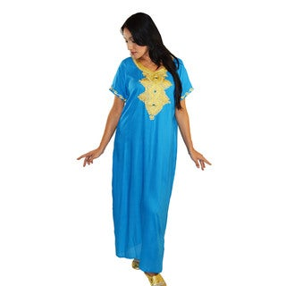 Moroccan Handmade Women's Andalusia Cotton Long Caftan with Gold Embroidered Fiber