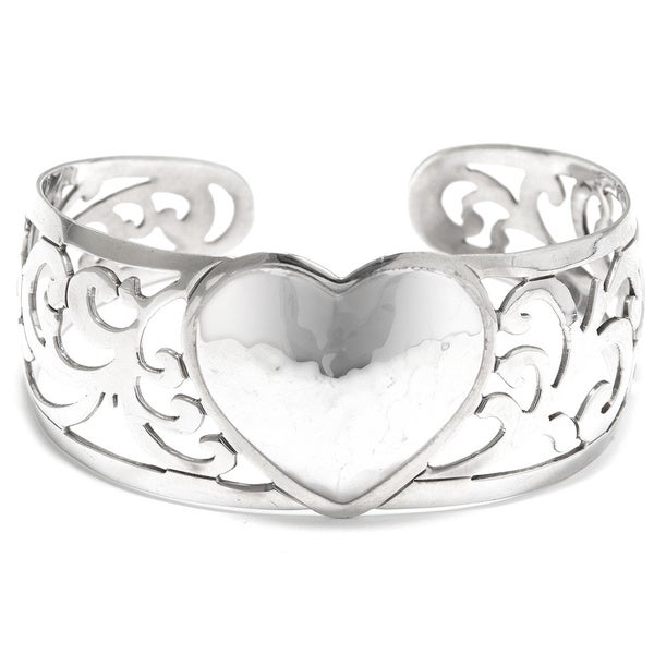 Hammered Sterling Silver Heart Filigree Cuff Bracelet