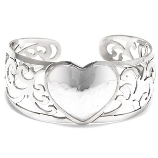 Hammered Sterling Silver Heart Filigree Cuff Bracelet|https://ak1.ostkcdn.com/images/products/9667902/P16848961.jpg?_ostk_perf_=percv&impolicy=medium