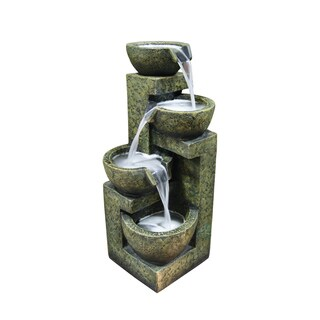 Alpine Cascading Three Tier Stone Bowl Fountain, 24 Inch Tall