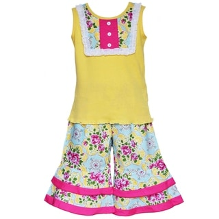 AnnLoren Boutique Girl's Yellow Tank with Floral Damask Capriss 2-piece Outfit