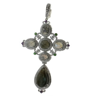 Michael Valitutti Sterling Silver Labradorite Cross Necklace