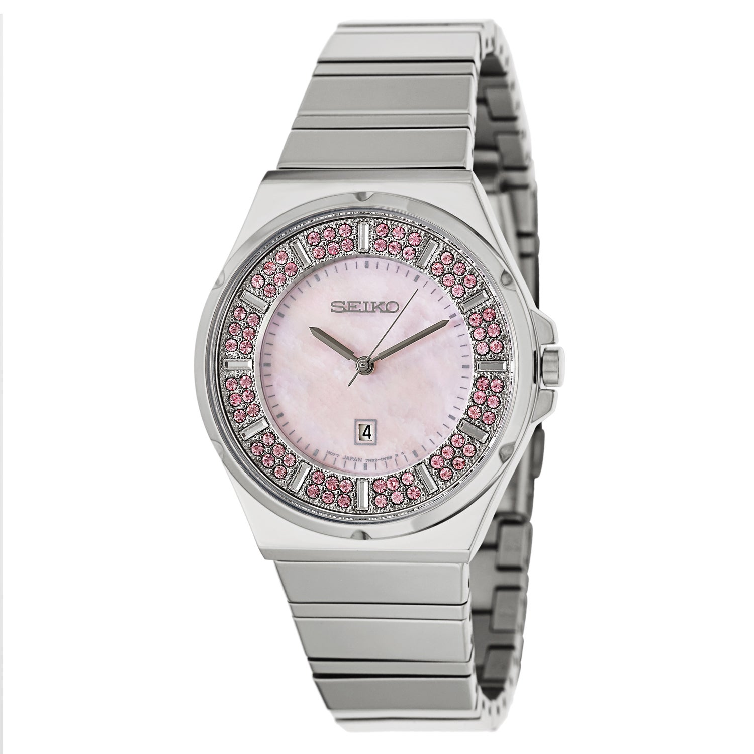 Seiko Women's SXDG13 Stainless Steel and Pink Crystal Wat...
