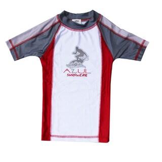 Azul Swimwear Combination Short Sleeve Red Rash Guard