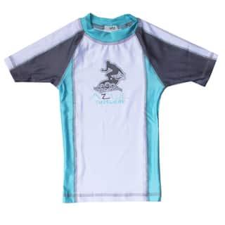 Azul Swimwear Short Sleeve Aqua Combination Rash Guard|https://ak1.ostkcdn.com/images/products/9668326/P16849326.jpg?impolicy=medium