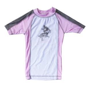 Azul Swimwear Short Sleeve Pink Combination Rash Guard|https://ak1.ostkcdn.com/images/products/9668327/P16849327.jpg?impolicy=medium
