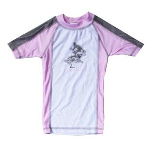 Azul Swimwear Short Sleeve Pink Combination Rash Guard