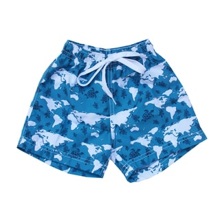 Azul Swimwear Boys 'Turtle World' Blue Swim Shorts