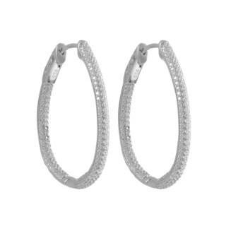 Luxiro Sterling Silver Pave Cubic Zirconia Hinge Lock Pear Shape Hoop Earrings