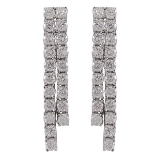 Luxiro Sterling Silver Cubic Zirconia Two Row Cascade Tennis Earrings