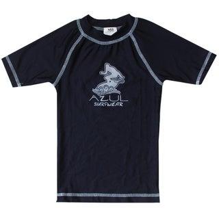 Azul Swimwear Short Sleeve Solid Navy Rash Guard